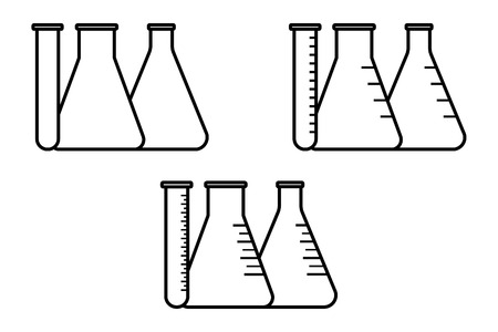 graduated: Vector icon of conical flasks, graduated flasks with  wide neck and test tubes on white background Illustration