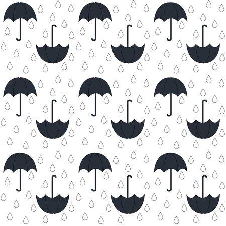 rain drop: Vector seamless pattern with umbrella and drop. Rain background