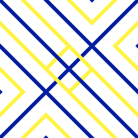 Vector seamless pattern. Blue and yellow colors. Diagonal strip background. Labyrinth concept