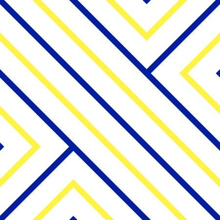 disjoint: Vector seamless pattern. Blue and yellow colors. Diagonal strip background. Labyrinth concept