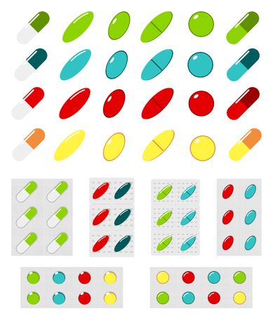 Set of vector pills and blisters. Red, blue, green, orange capsule. Medical illustration.