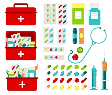 medicine chest: Multicolored vector set of pills and bottles in medicine chest. Set of first aid kit boxes.  Stethoscope, syringes, tablets, adhesive plaster