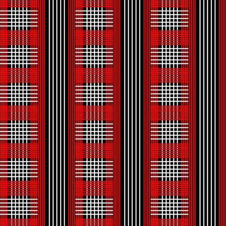 stripped background: Vector seamless pattern. Red, white and black color.Checkered, plaid, stripped background.