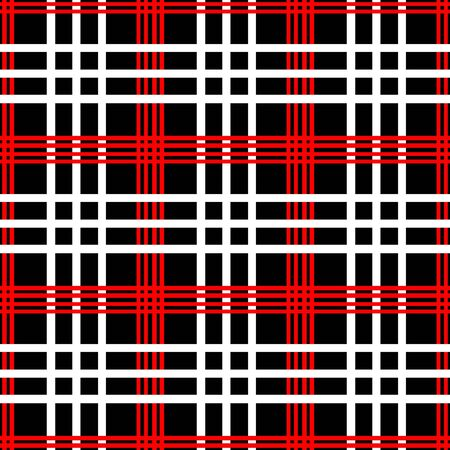red plaid: Vector seamless pattern. Red, white and black color.Checkered, plaid background. Illustration