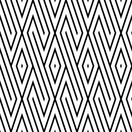 disjoint: Vector seamless pattern. Black and white colors. Diagonal strip and rombus background.