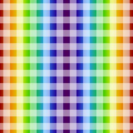 Rainbow line vector seamless pattern. Chekered background Illustration
