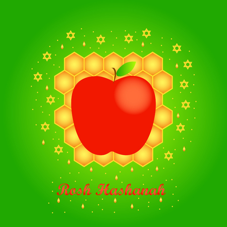 Vector greeting card for Rosh Hashanah (Jewish New Year). Apple, honeycomb and star of David on green background.