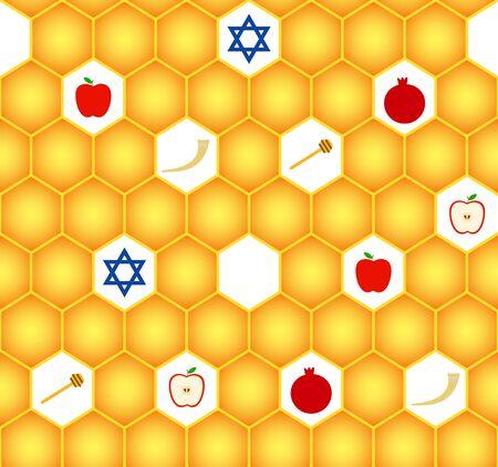Vector greeting seamless pattern for Rosh Hashanah (Jewish New Year). Apple, honeycomb, star of David, shofar and pomegranate.