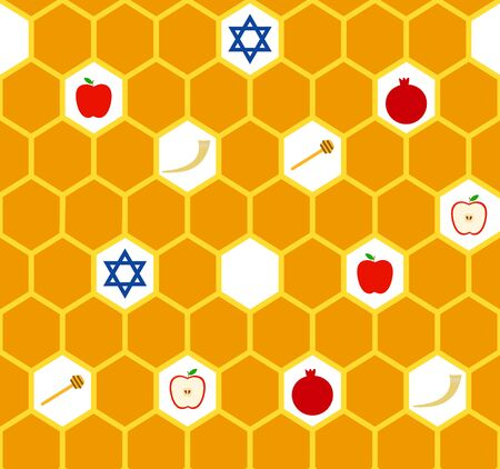Vector greeting seamless pattern for Rosh Hashanah (Jewish New Year). Apple, honeycomb, star of David, shofar and pomegranate background.