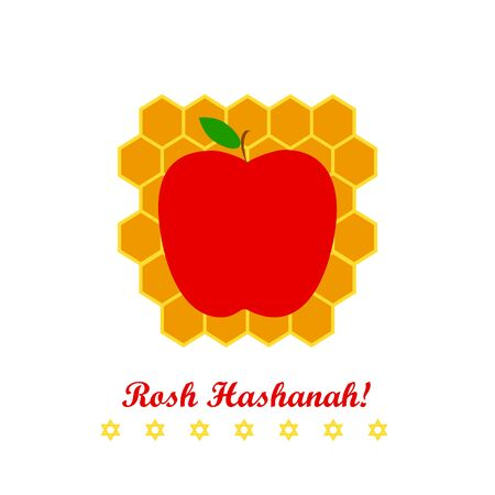 Vector greeting card for Rosh Hashanah (Jewish New Year). Apple, honeycomb and star of David on white background.