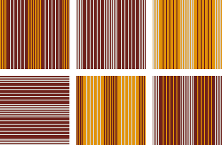 stripped: Set of line Vector seamless patterns.Orange, grey and brown background. Stripped patterns. Autumn color.
