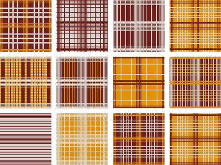Set of line Vector seamless patterns.Orange, grey and brown background. Checkered, plaid, stripped patterns. Autumn color.