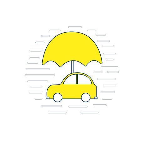 Vector icon of insurance car. Concept security of property. Isolated illustration