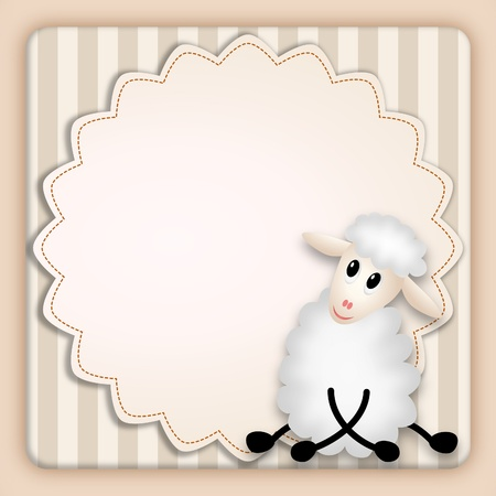 bitmap illustration of cute young sheep on decorative background - birthday invitation