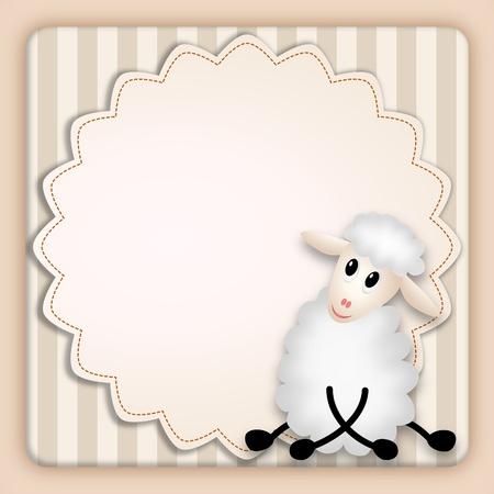 invito compleanno: illustrazione bitmap di cute pecore giovani su sfondo decorativo - invito compleanno Archivio Fotografico