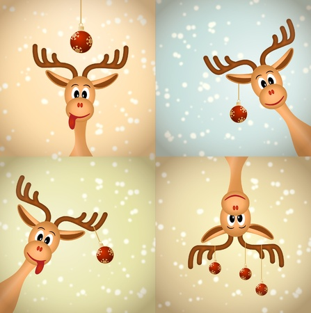 caribou: Four funny christmas reindeer with christmas balls nad snow - bitmap illustration
