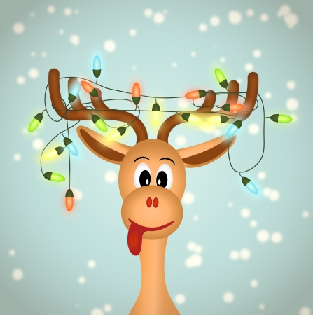 funny reindeer with christmas lights tangled in antlers