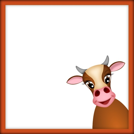 cute brown cow in empty frame with red border - illustration illustration
