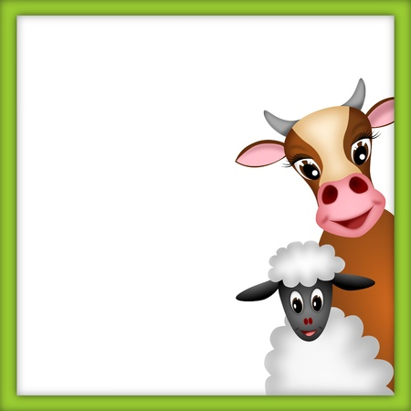 bitmaps: cute brown cow and white sheep in empty frame with green border - illustration