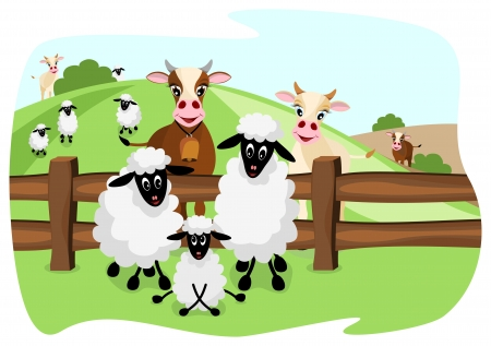 two cute cows and three sheep on pasture with a wooden fence and landscape in background Illustration