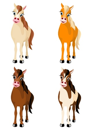 mare: set of four vector multicolored cute horses isolated on white background Illustration