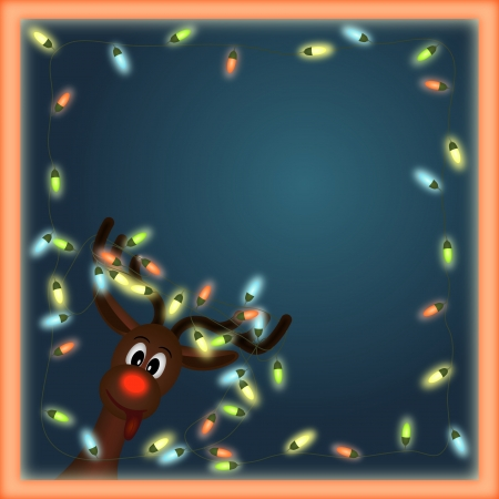 funny reindeer with christmas lights tangled in antlers in orange  frame with dark background photo