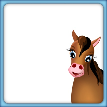 ponies: cute brown horse in empty frame with blue border and white background - illustration Stock Photo