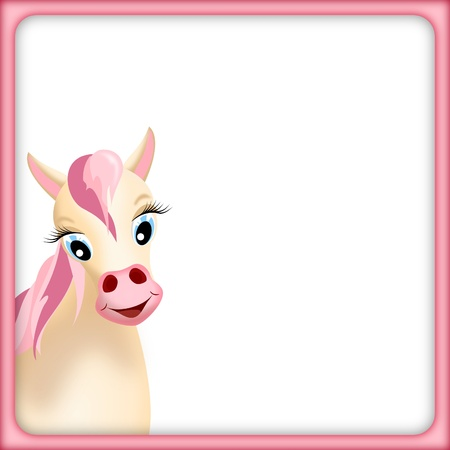 colt: cute beige horse  in empty frame with pink mane and pink border - illustration