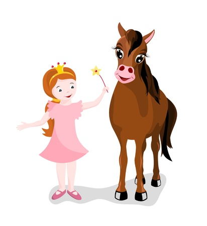 little cute princess with beautiful brown horse on white background