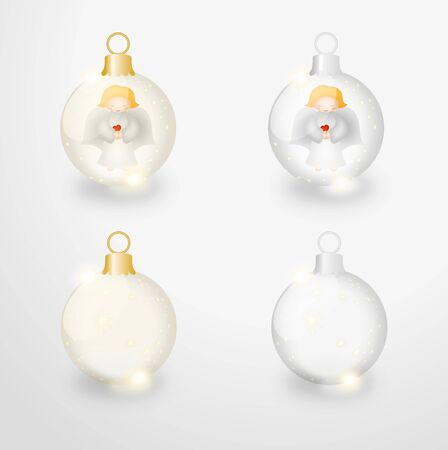 shinning light: Bitmap ilustration of four transparent  christmas balls from gass with stars and cute gray angels