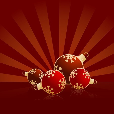 bitmaps: Four red christmas balls - bitmap illustration