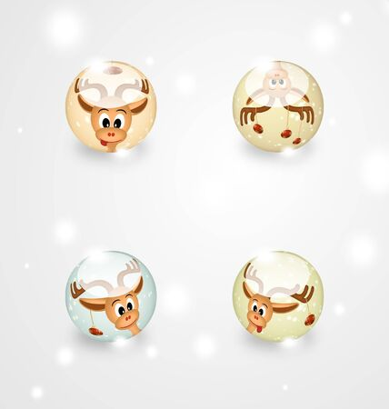 Four  christmas balls with funny reindeers on gray background - bitmap illustration illustration