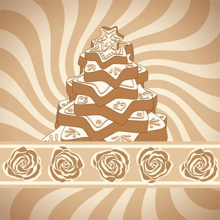 hand-drawn gingerbread christmas tree on background with brown swirl and stripe with beige and brown roses photo