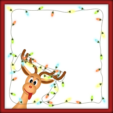 decoration lights: funny reindeer with christmas lights tangled in antlers in red frame with white background Stock Photo