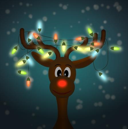 groviglio: renna divertente con colorate luci di Natale aggrovigliati in corna al buio - illustrazione Archivio Fotografico