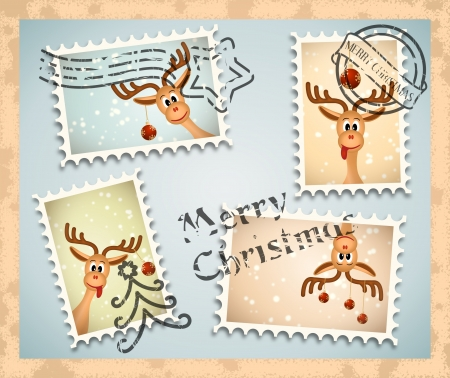 christmas mail: bitmap illustration of postage stamps with christmas theme - funny reindeer with red christmas balls