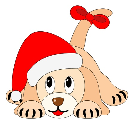 bitmaps: Bitmap illustration of cute little puppy with  Santas hat