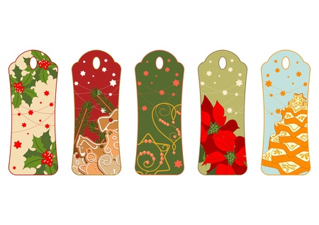Five illustrated tags with christmas motives Vector