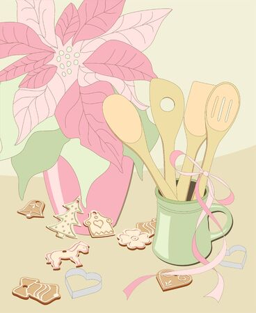stilllife: illustrated poinsettia, mug with wooden spoons and christmas gingerbread on beige background - vintage