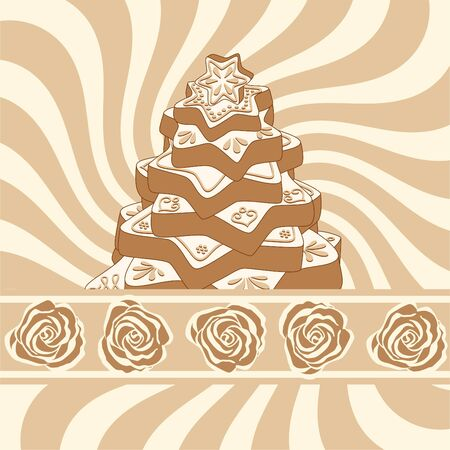 hand-drawn gingerbread christmas tree on background with brown swirl and stripe with beige and brown roses Vector