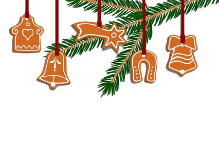 Five illustrated vector christmas gingerbread - house, star, horseshoe and two bells Vector