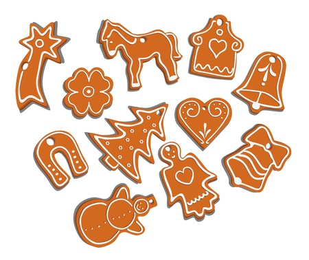 vector collection of 11 isolated christmas gingerbread on white background - seasonal cookies