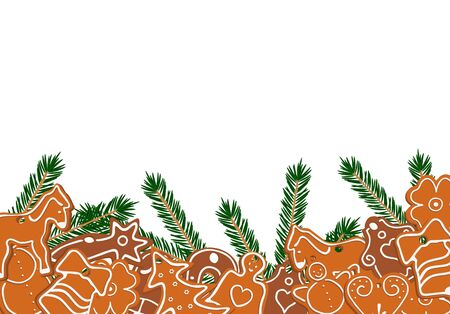 Decorated gingerbread and green branches on white background - vector illustration Stock Vector - 11243891