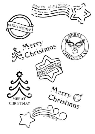 Prints of stamps with christmas motives isolated on white background Illustration