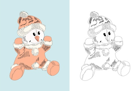 Hand drawn toy - snowman, doll - coloring book Vector