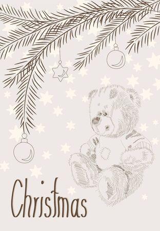 chrismas card: Hand drawn chrismas card - furry bear and christmas bals on branches  - vintage Illustration