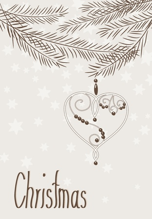 chrismas card: Hand drawn chrismas card - heart with beads and branches  - vintage