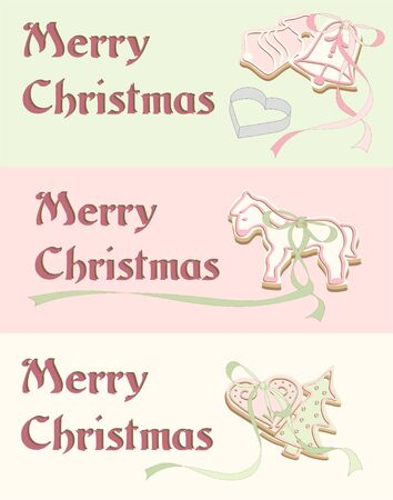 hristmas: illustrated hand drawn hristmas cards with gingerbread and ribbon - vintage Illustration