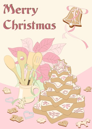 illustrated decorated gingerbread christmas tree with poinsettia, vintage, hand drawn Vector