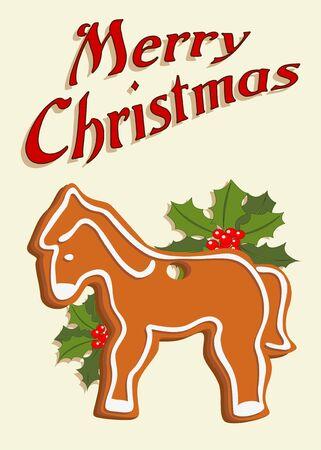 Dargestellt verziert Weihnachtskarte mit Lebkuchen Pferd gezogen vintage-, Hand- Standard-Bild - 11243877